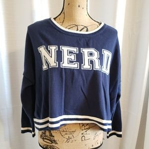 Xhilaration Blue and White Nerd Cropped Sweater